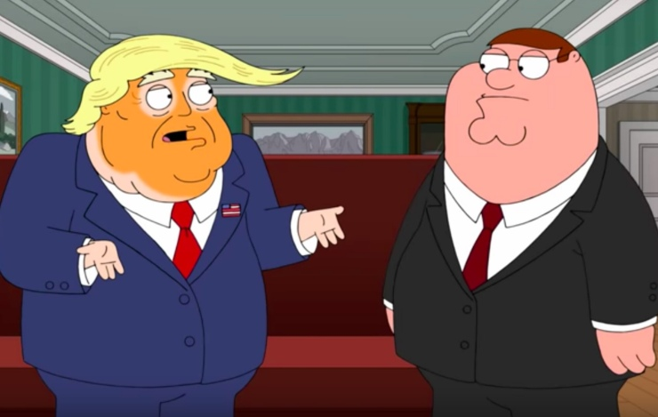 Still capture of Trump and Peter Griffin on Family Guy